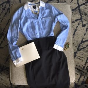 Express Essential Button Down Blue and White